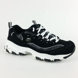 Skechers 7.5 Black D'Lites Leather Sneakers S3-9